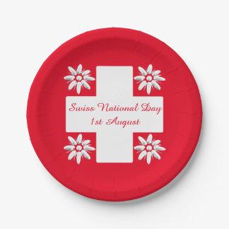 スイスの旗およびedelweiss ペーパープレート