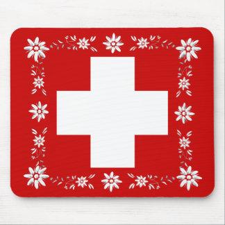 スイスの旗およびedelweiss 2 マウスパッド