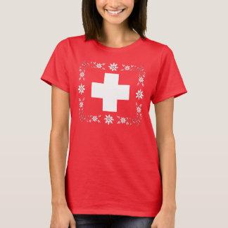 スイスの旗およびedelweiss tシャツ