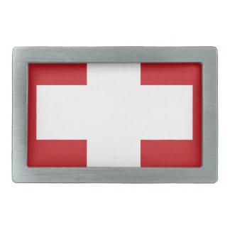 スイスの旗 長方形ベルトバックル
