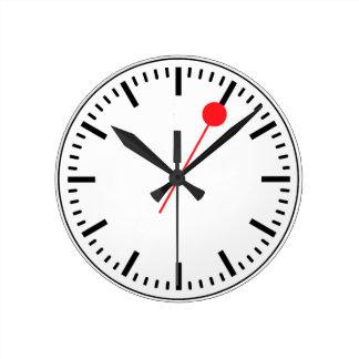 スイスの鉄道の時計 ラウンド壁時計