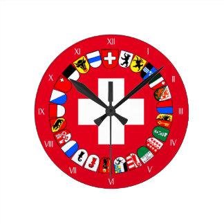 スイスカントンの紋章付き外衣 ラウンド壁時計