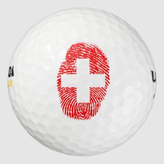 スイス人のtouchの指紋の旗 ゴルフボール