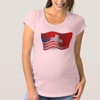 スイス人アメリカの振る旗 マタニティTシャツ