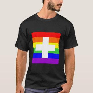 スイス連邦共和国のスイスの国の陽気で誇りを持ったな虹の旗 Tシャツ