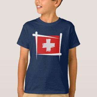 スイス連邦共和国のブラシの旗 Tシャツ