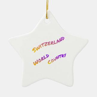 スイス連邦共和国の世界の国、多彩な文字の芸術 セラミックオーナメント