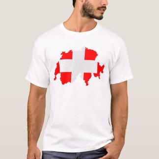 スイス連邦共和国の地図および旗 Tシャツ