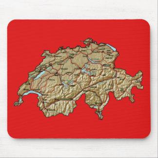 スイス連邦共和国の地図のマウスパッド マウスパッド