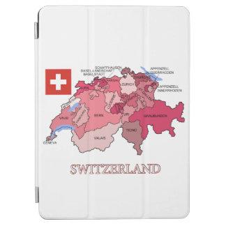 スイス連邦共和国の旗そして地図 iPad AIR カバー