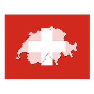 スイス連邦共和国の旗の地図の輪郭の郵便はがき ポストカード
