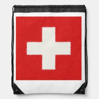 スイス連邦共和国の旗の油絵 ナップサック