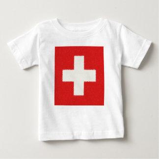 スイス連邦共和国の旗の油絵 ベビーTシャツ