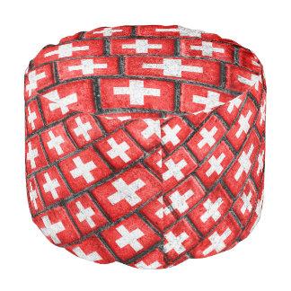 スイス連邦共和国の旗の都市グランジなパターン プーフ