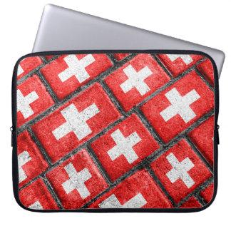 スイス連邦共和国の旗の都市グランジなパターン ラップトップスリーブ