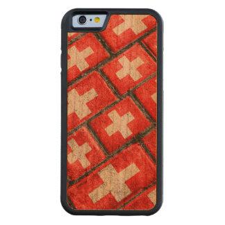 スイス連邦共和国の旗の都市グランジなパターン CarvedチェリーiPhone 6バンパーケース