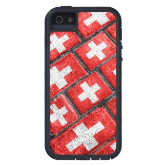 スイス連邦共和国の旗の都市グランジなパターン iPhone SE/5/5s ケース