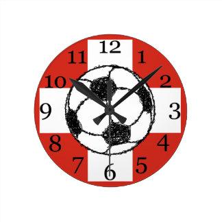 スイス連邦共和国の旗|のフットボールの球 ラウンド壁時計