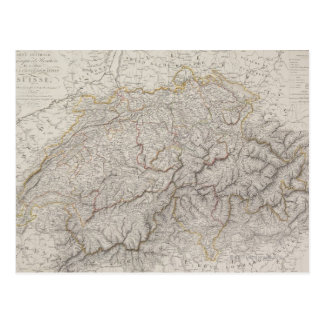 スイス連邦共和国の旧式な地図 ポストカード