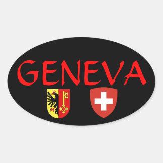 スイス連邦共和国のGeneva*の楕円形のステッカー 楕円形シール
