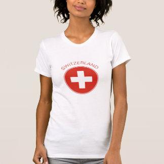 スイス連邦共和国-スイスの旗の女性のTシャツ Tシャツ