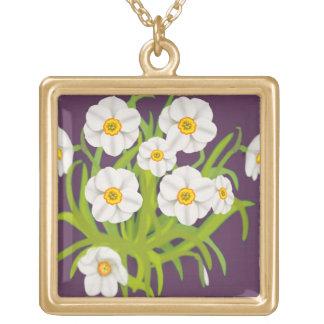 スイセンの花の花束のネックレス ゴールドプレートネックレス
