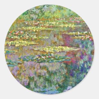 スイレンによってはクロード・モネのファインアートが開花します ラウンドシール