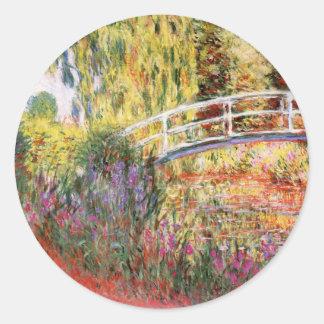 スイレンのステッカー上のMonet橋 ラウンドシール