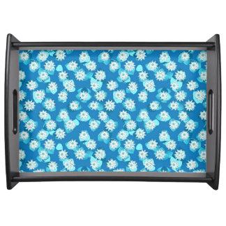 スイレンのパターン、ターコイズ、青および白 トレー