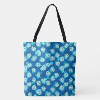 スイレンのパターン、ターコイズ、青および白 トートバッグ