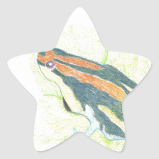 スイレンの浮いている葉のカエル 星シール