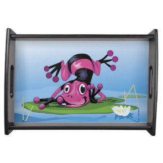 スイレンの浮いている葉のサービングの皿のカエル トレー