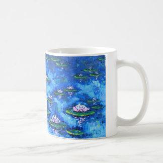 スイレンの絵画、花の芸術、花 コーヒーマグカップ