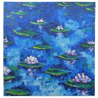 スイレンの絵画、花の芸術、花 ナプキンクロス