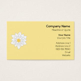 スイレンの花。 白および黄色。 スタイル2. 名刺
