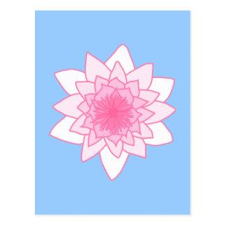 スイレン。 かわいらしいピンクおよび淡いブルー。 ポストカード