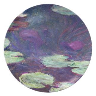 スイレン、古いピンク、クールな1897-99年のクロード・モネ プレート