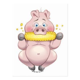 スイートコーンBBQのピンクの豚のよう ポストカード