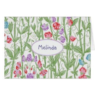 スイートピーの花パターン名前入りなモノグラム カード