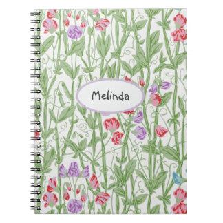 スイートピーの花パターン名前入りなモノグラム ノートブック