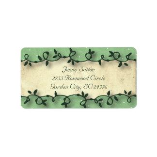 スイートピーの茶誕生日の緑の水玉模様 ラベル