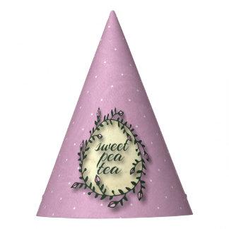 スイートピーの茶誕生日-ピンクの水玉模様 パーティーハット
