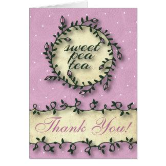 スイートピーの茶誕生日-ピンクは感謝していしています カード