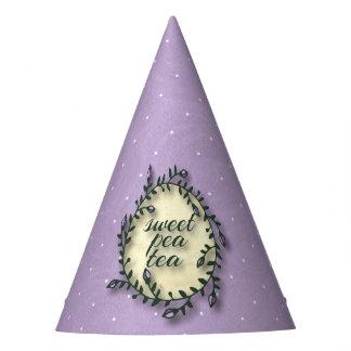 スイートピーの茶誕生日-紫色の水玉模様 パーティーハット