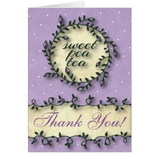 スイートピーの茶誕生日-紫色は感謝していしています カード