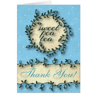 スイートピーの茶誕生日-青は感謝していしています カード