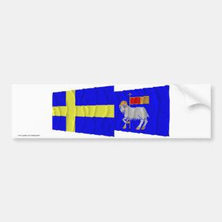 スウェーデンおよびGotlandsのlänの振る旗 バンパーステッカー