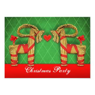 スウェーデンのわらのヤギのクリスマスの休日のパーティのカスタム カード