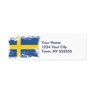 スウェーデンのグランジな旗 ラベル