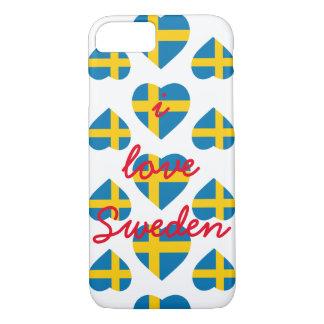 スウェーデンのハートの形の旗 iPhone 8/7ケース
